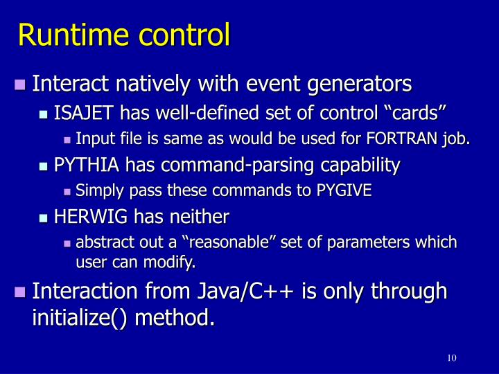 Runtime control