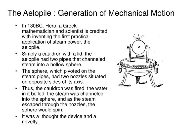 The aelopile generation of mechanical motion