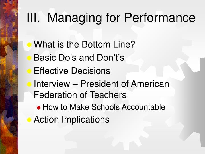 III.  Managing for Performance