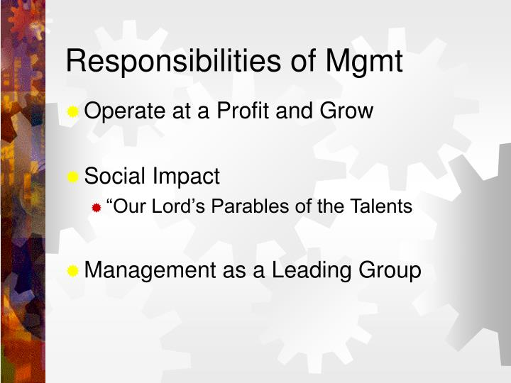 Responsibilities of Mgmt