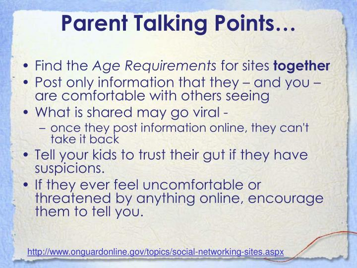 Parent Talking Points…
