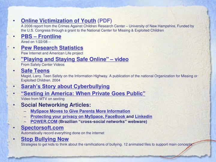 Online Victimization of Youth