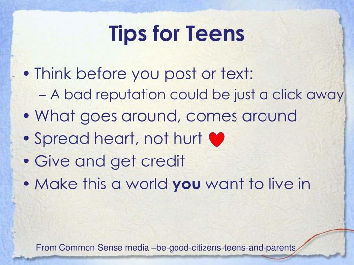 Tips for Teens