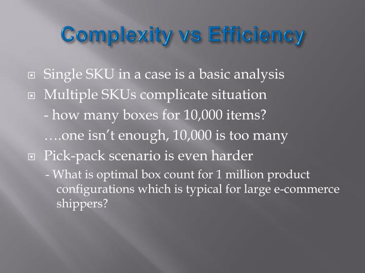 Complexity vs Efficiency