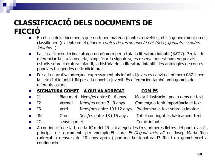 CLASSIFICACIÓ DELS DOCUMENTS DE FICCIÓ