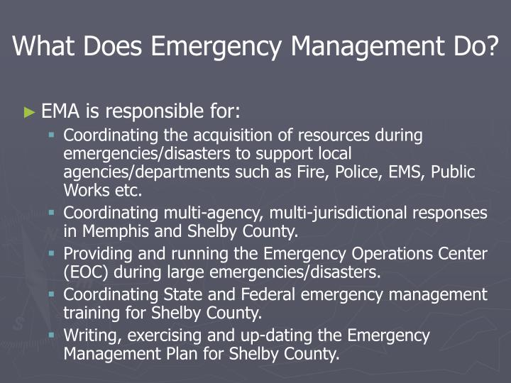 What Does Emergency Management Do?