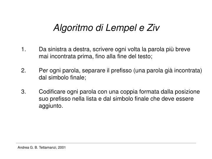 Algoritmo di Lempel e Ziv