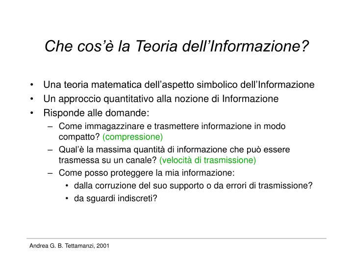 Che cos'è la Teoria dell'Informazione?