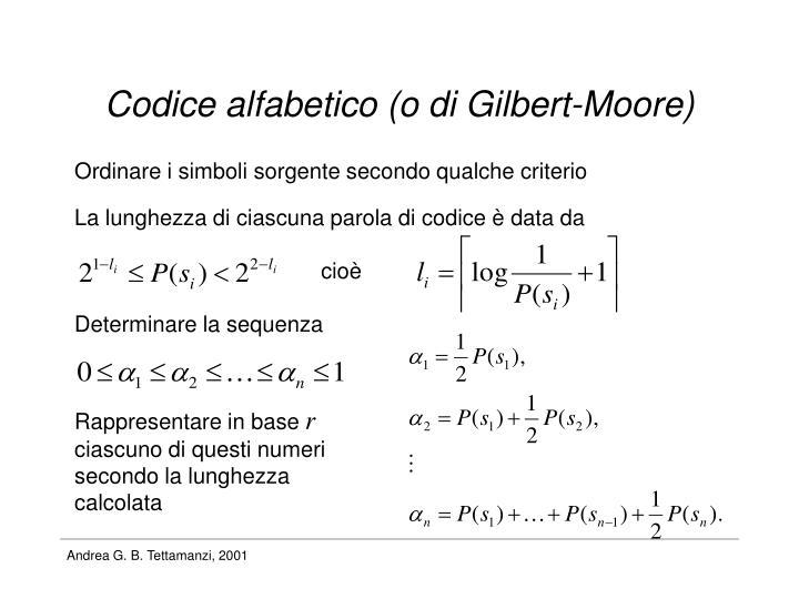Codice alfabetico (o di Gilbert-Moore)