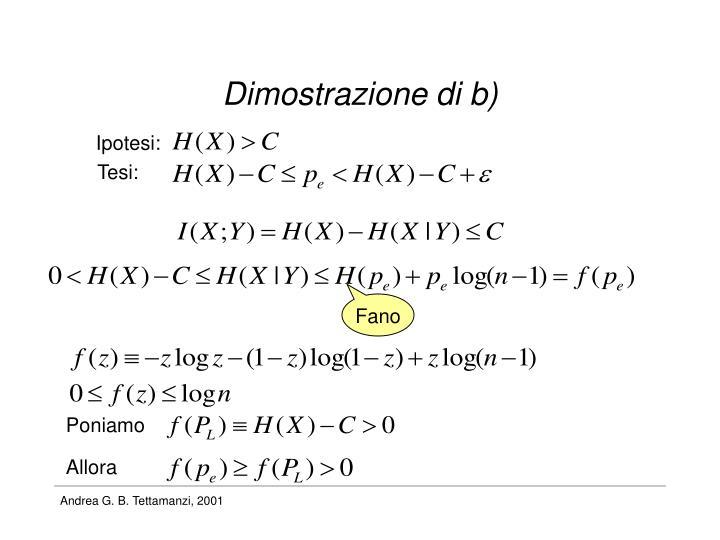 Dimostrazione di b)