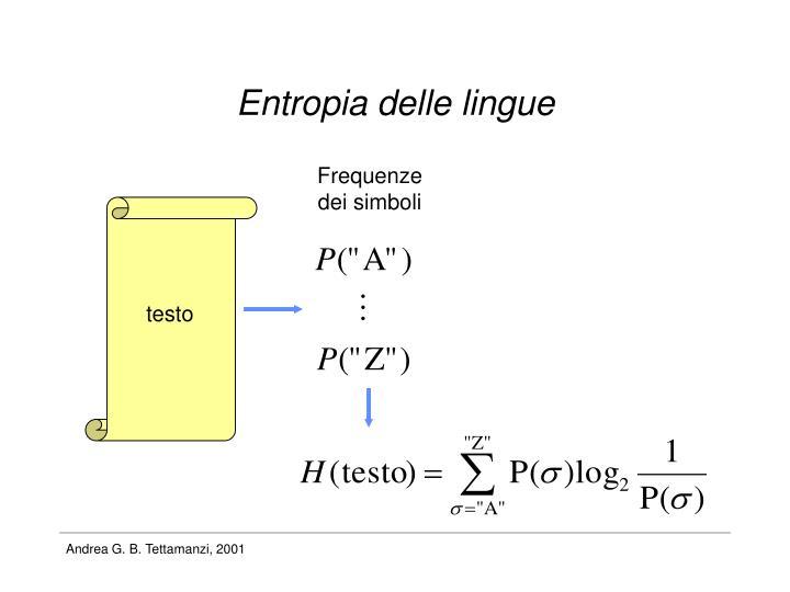 Entropia delle lingue