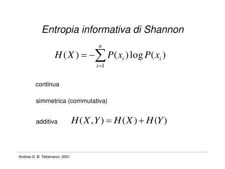 Entropia informativa di Shannon