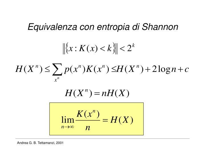 Equivalenza con entropia di Shannon