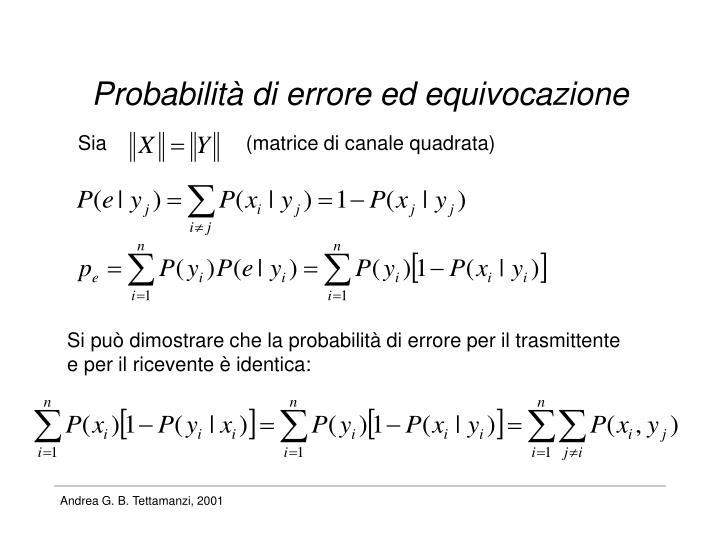 Probabilità di errore ed equivocazione