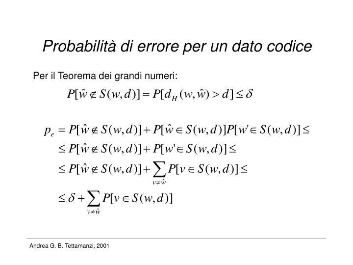 Probabilità di errore per un dato codice