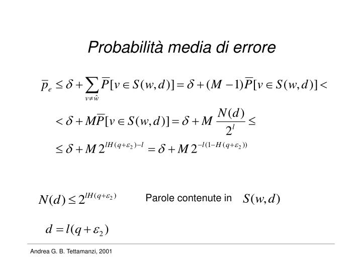 Probabilità media di errore