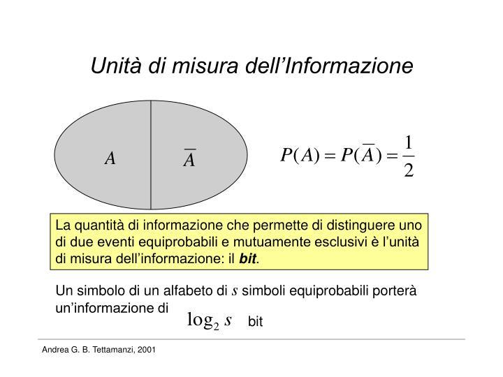 Unità di misura dell'Informazione