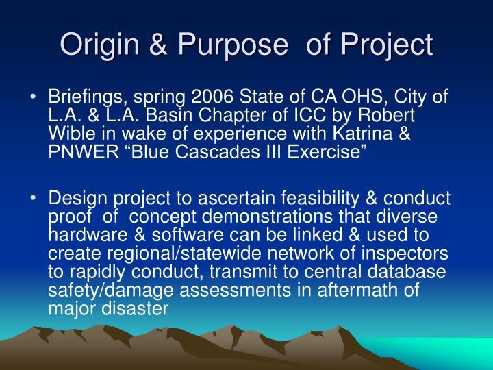 Origin & Purpose  of Project