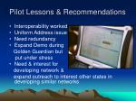 pilot lessons recommendations
