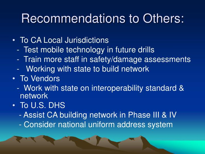 Recommendations to Others: