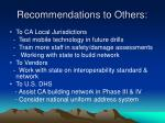 recommendations to others