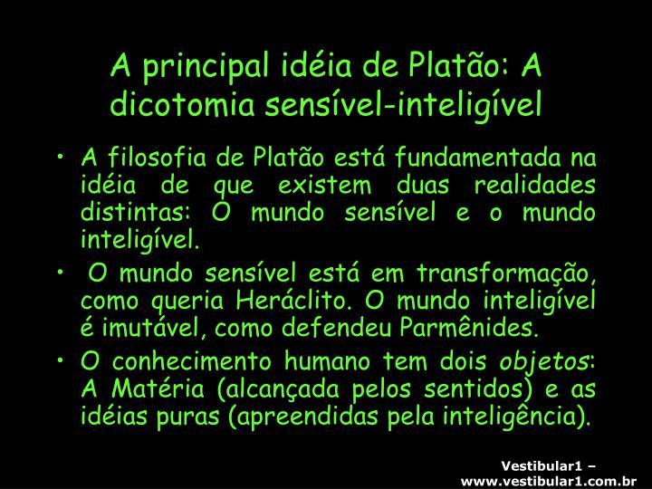 A principal idéia de Platão: A dicotomia sensível-inteligível