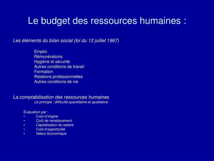 Le budget des ressources humaines :