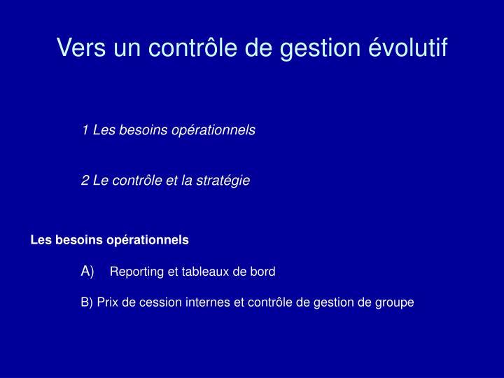 Vers un contrôle de gestion évolutif