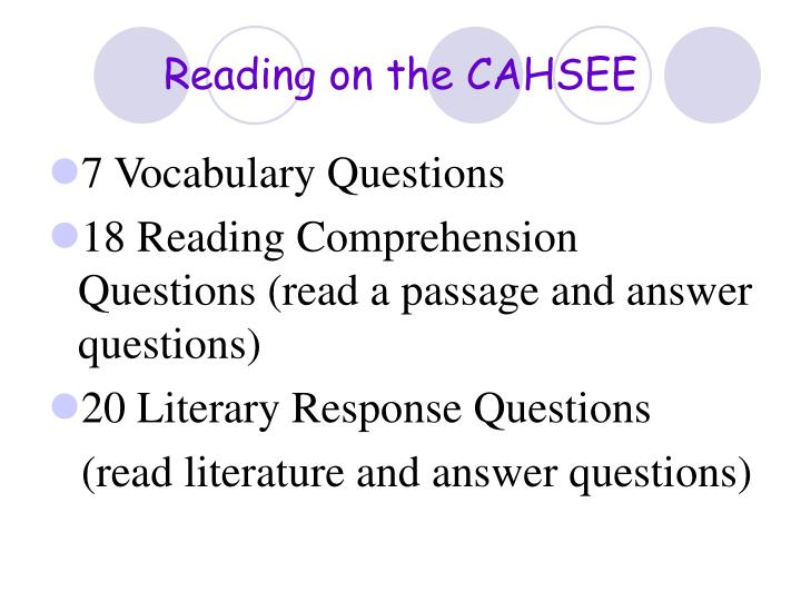 Reading on the CAHSEE