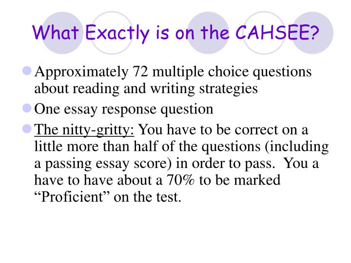 What Exactly is on the CAHSEE?