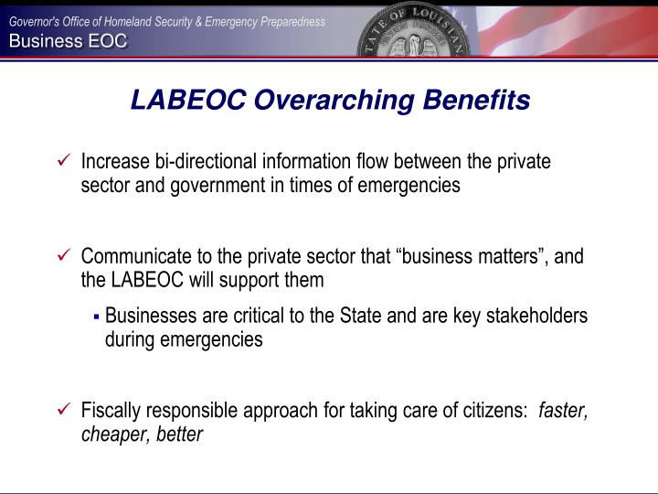 LABEOC Overarching Benefits
