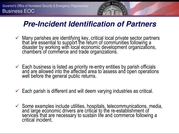 Pre-Incident Identification of Partners