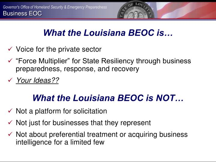 What the Louisiana BEOC is…