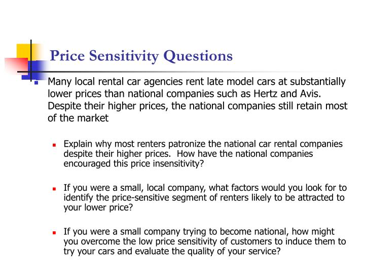 Price Sensitivity Questions