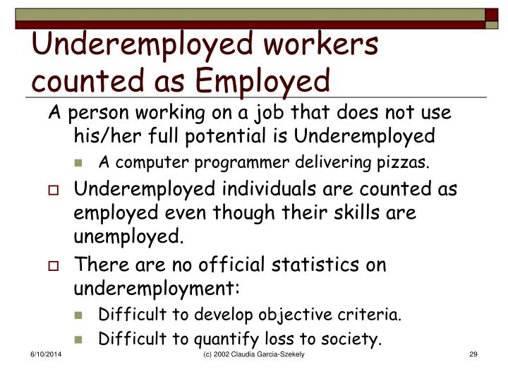 Underemployed workers counted as Employed