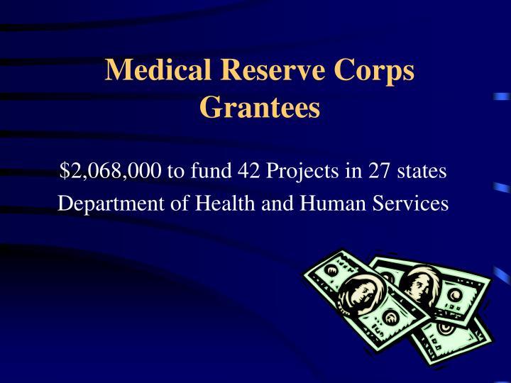 Medical Reserve Corps Grantees