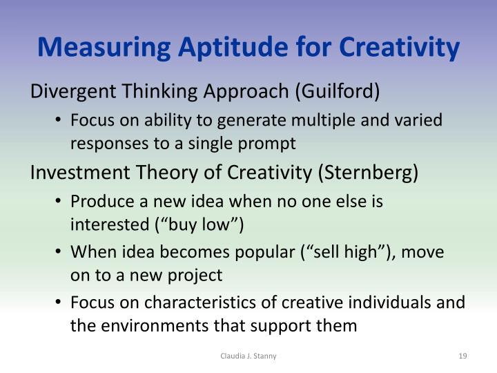 Measuring Aptitude for Creativity