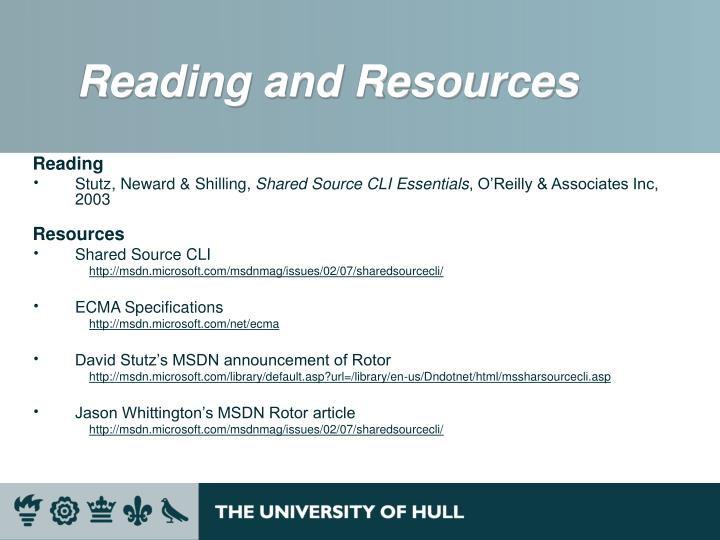 Reading and Resources