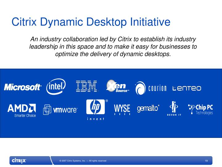 Citrix Dynamic Desktop Initiative