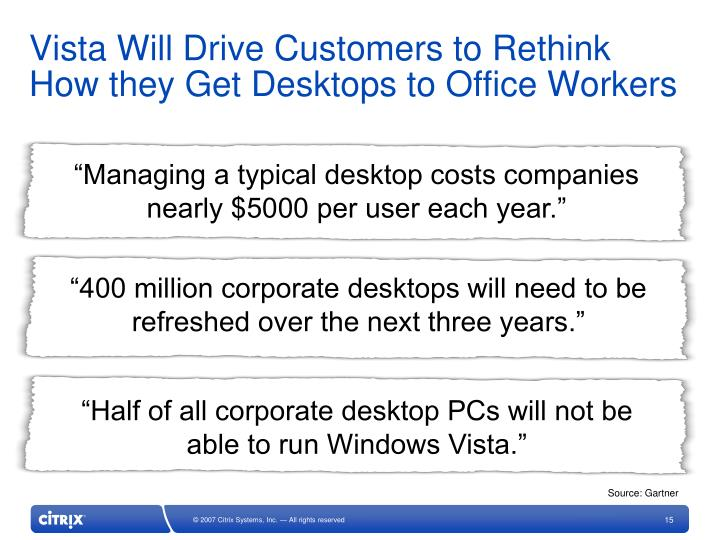 Vista Will Drive Customers to Rethink How they Get Desktops to Office Workers