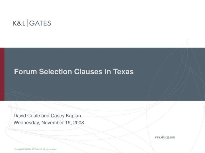 Forum Selection Clauses in Texas