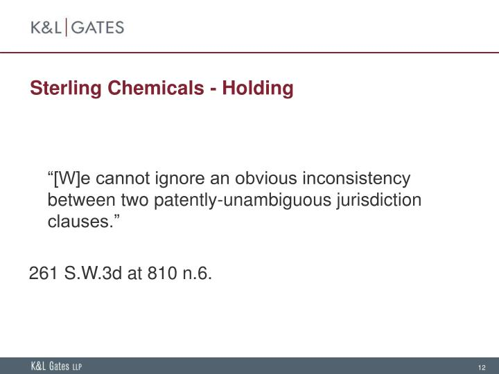 Sterling Chemicals - Holding