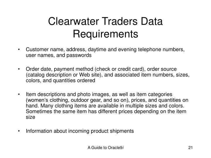 Clearwater Traders Data Requirements