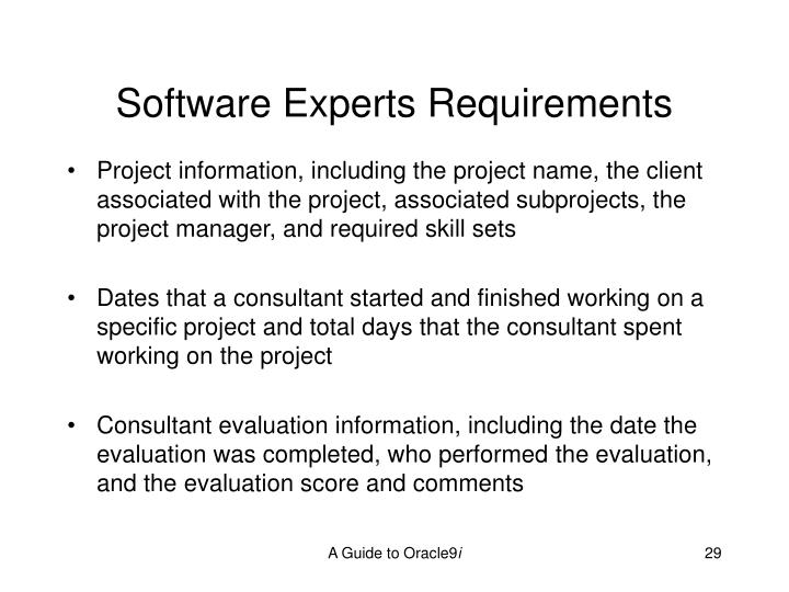 Software Experts Requirements