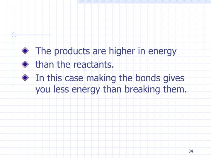 The products are higher in energy