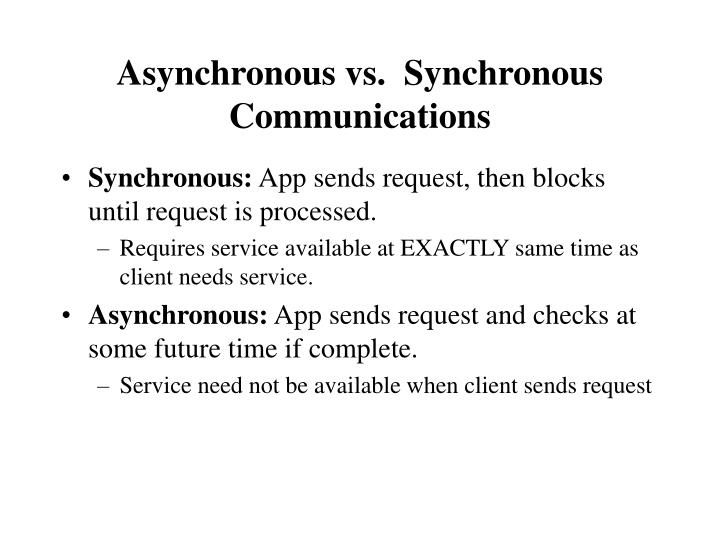 Asynchronous vs.  Synchronous Communications