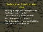 challenges of privatized war legal