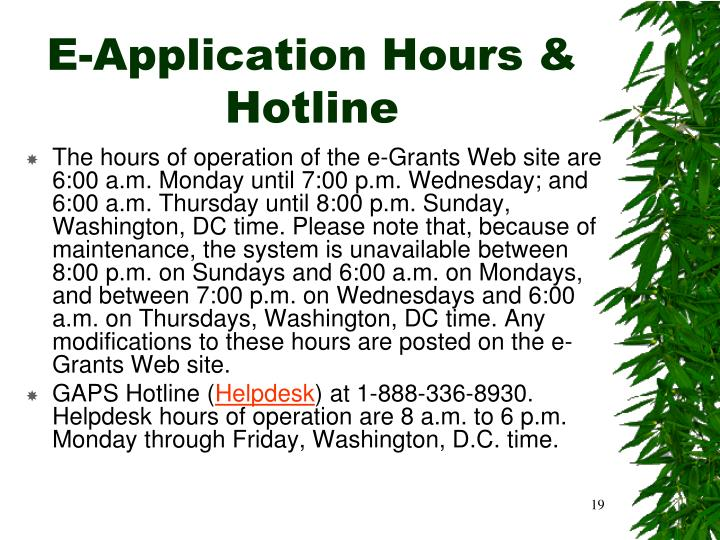 E-Application Hours & Hotline