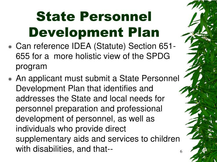 State Personnel Development Plan