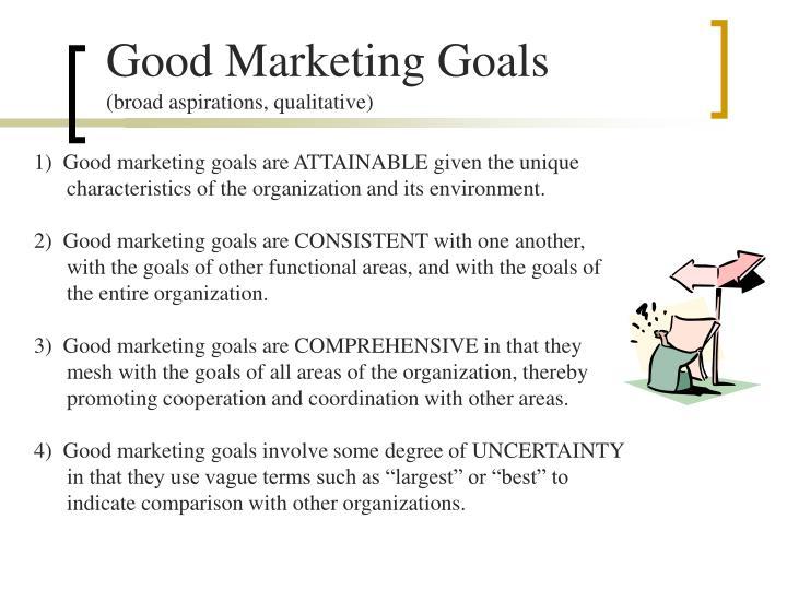 Good Marketing Goals